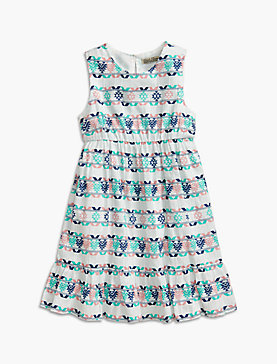 PRINTED DRESS W/ RUFFLE