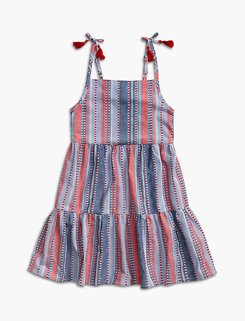 STRIPE TIERED DRESS, DARK RED