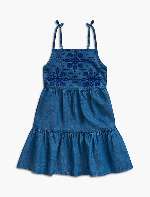 CHAMBRAY TIERED DRESS, MEDIUM BLUE