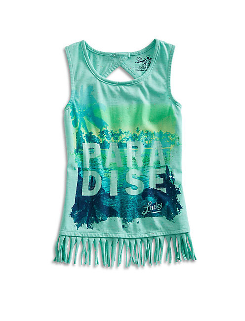 PARADISE FRINGE TEE, LIGHT BLUE