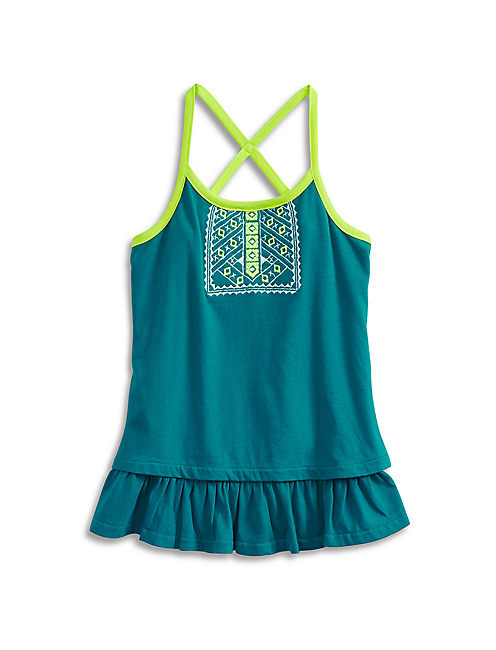 ISSADORA TANK TOP, OPEN BLUE/TURQUOISE