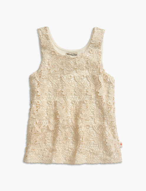 CROCHET LACE TANK, OPEN WHITE/NATURAL