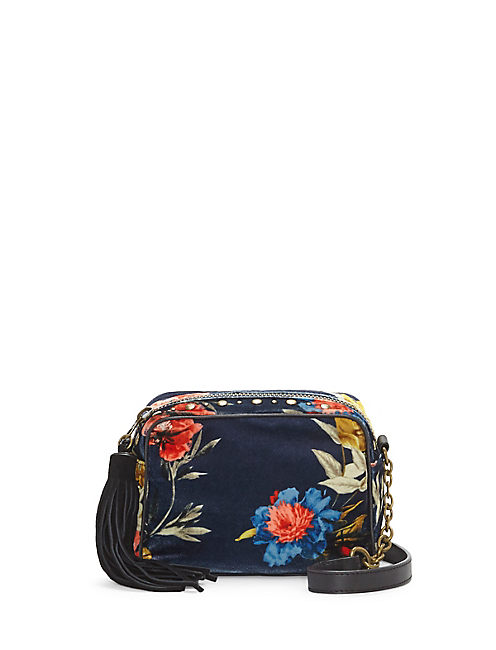 ANNA VELVET FLORAL CROSSBODY BAG, OPEN BLUE/TURQUOISE