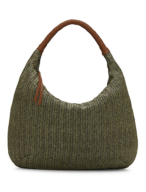 FIG HOBO BAG, MEDIUM DARK GREEN