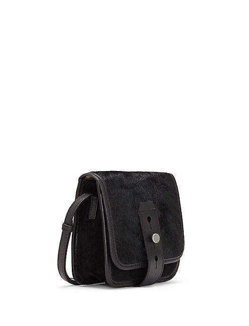 ROSE HAIRCALF SMALL CROSSBODY, BLACK