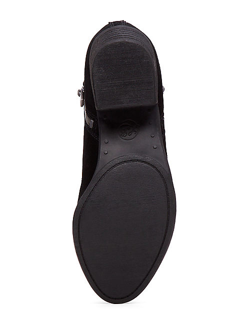 BASEL FLAT BOOTIE, BLACK SUEDE