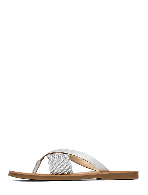 BAXX LEATHER FLAT SANDAL, SILVER