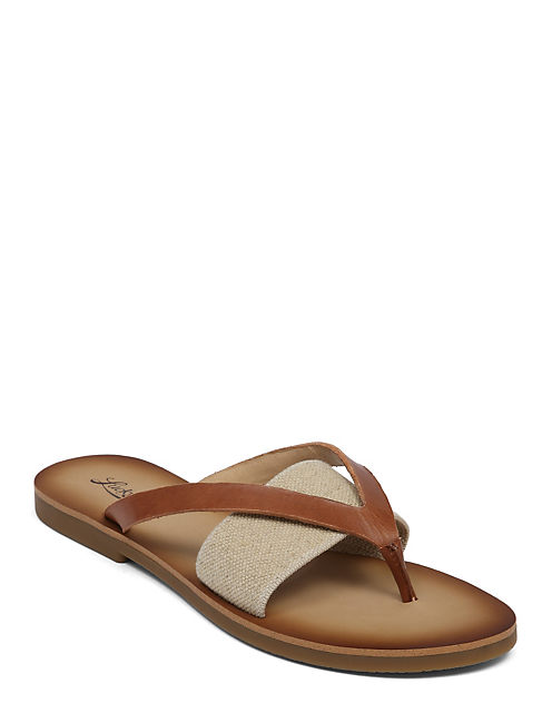 BAXX LEATHER FLAT SANDAL, LIGHT RED