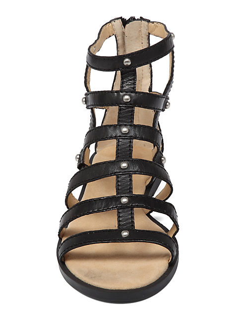 BEVERLEE GLADIATOR SANDAL, BLACK LEATHER