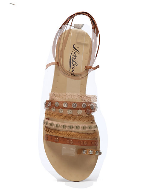 BLAIRE STUDDED FLAT SANDA, MEDIUM LIGHT BEIGE