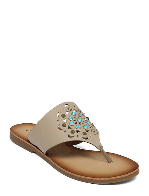 BREESE FLAT SANDAL, OPEN BROWN/RUST