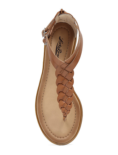 CARROLLE BRAIDED FLAT SAN, LIGHT BROWN