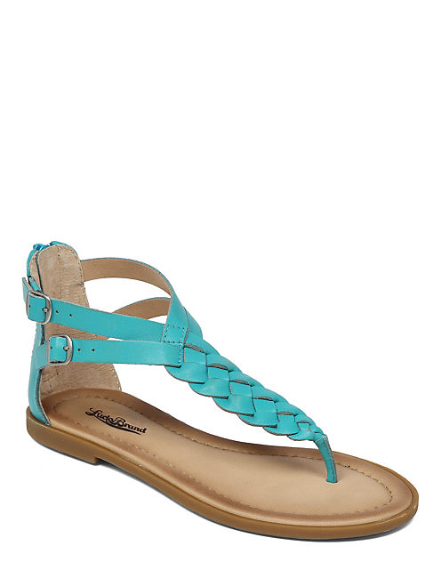 CARROLLE BRAIDED FLAT SAN, OPEN GREEN