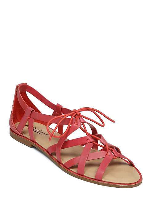 DAWNA FLAT SANDAL, LIGHT RED