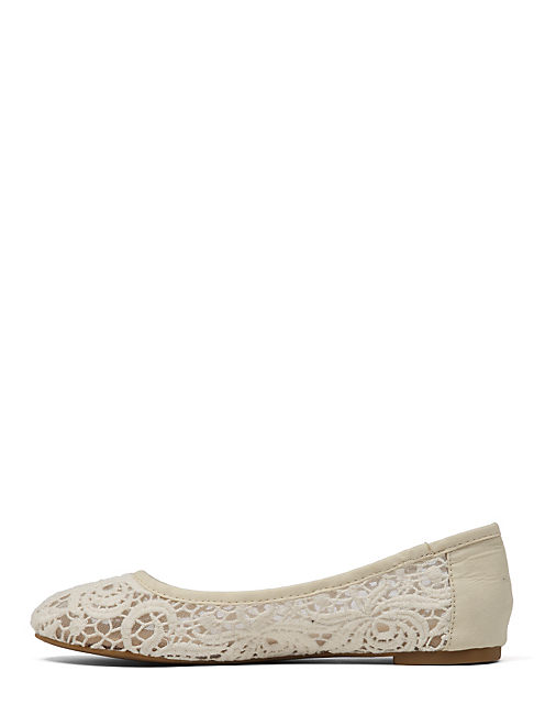 EARTHA LACE BALLET FLAT, MEDIUM BEIGE