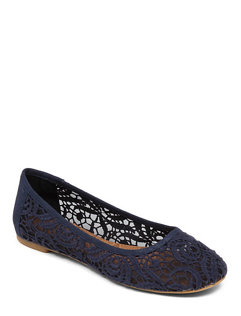 EARTHA LACE BALLET FLAT, OPEN BLUE/TURQUOISE