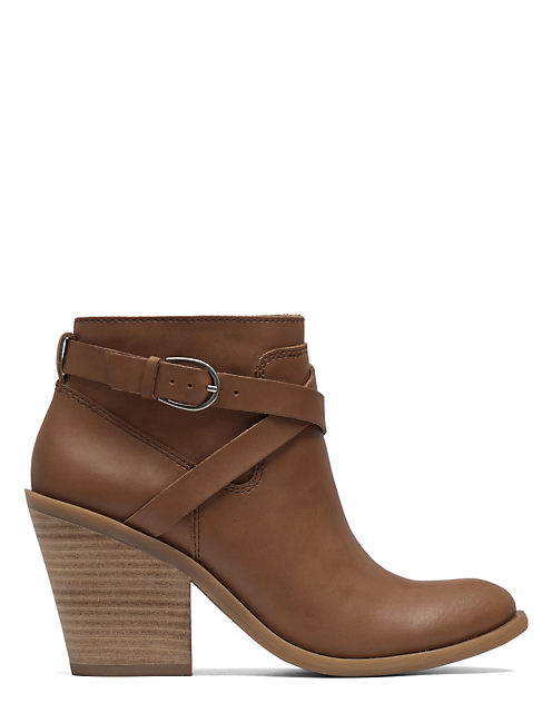 ELOY BUCKLE BOOTIES, OPEN BROWN/RUST