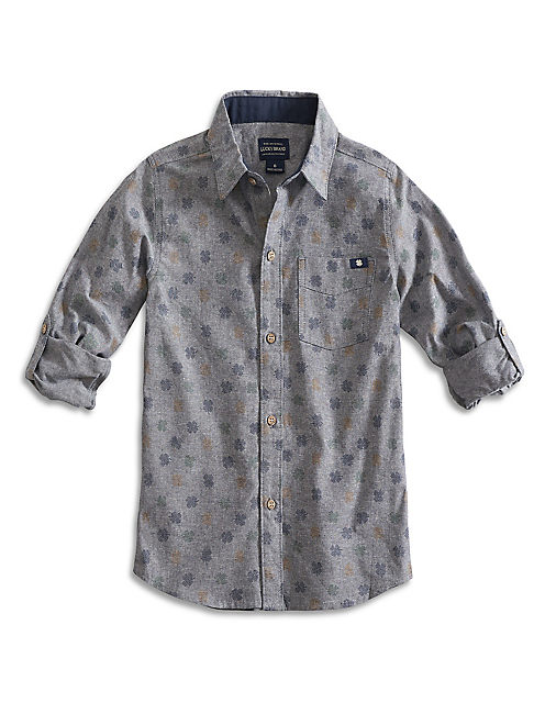 BUTTON DOWN SHIRT, HEATHER LT