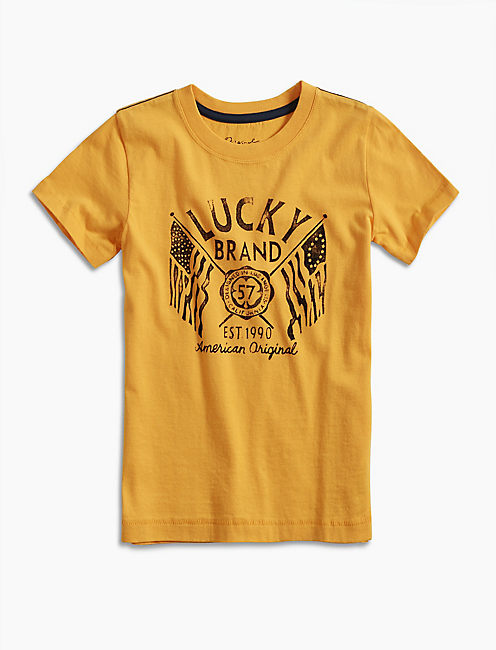 LUCKY FLAGS TEE, DARK YELLOW