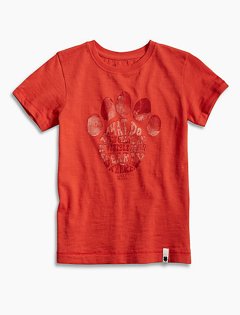 PAW PRINT TEE, OPEN RED