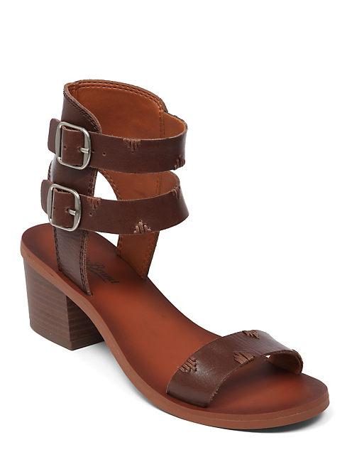 IRIZ HEEL SANDAL, DARK BROWN