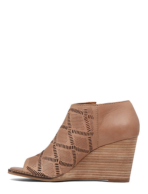 JASPAH OPEN TOE BOOTIE, WHEAT SUEDE