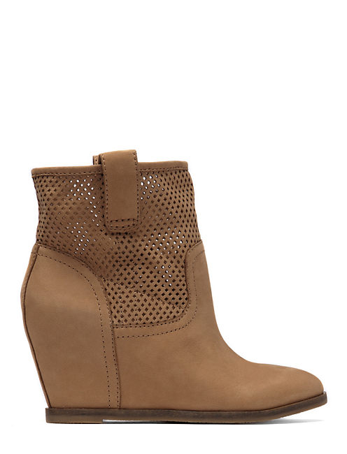 KENO WEDGE BOOTIES, OPEN BROWN/RUST