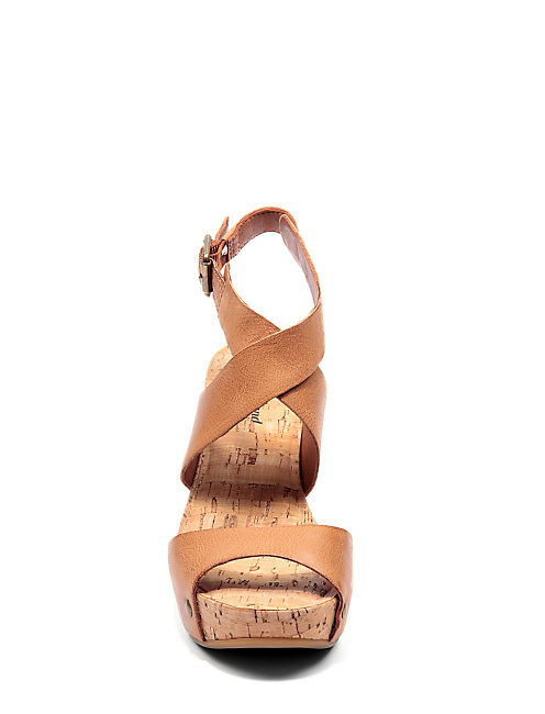 MORAN WEDGE, CINNAMON LEATHER