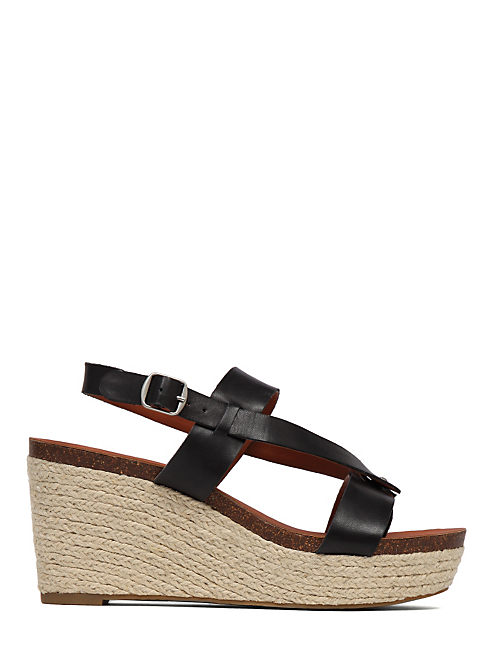 NATURALE LEATHER WEDGE, BLACK