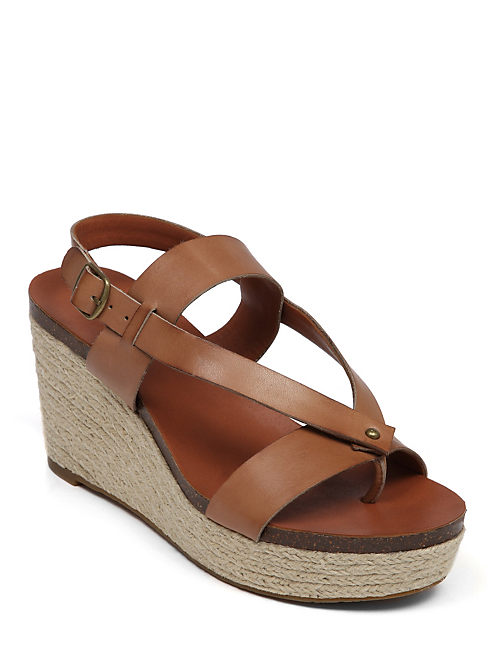 NATURALE LEATHER WEDGE, MEDIUM LIGHT BEIGE