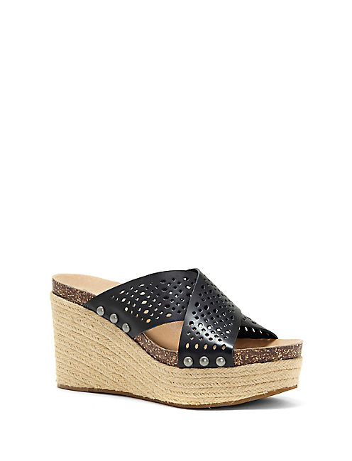 NEEKA PERFORATED WEDGE, BLACK