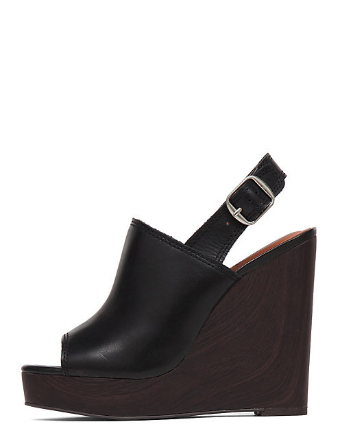 RONAND LEATHER WEDGE, BLACK