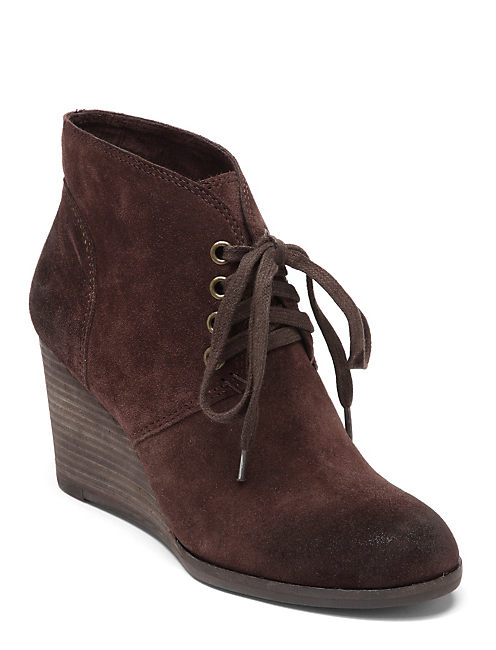 SWAYZE LACE UP WEDGE, DARK BROWN