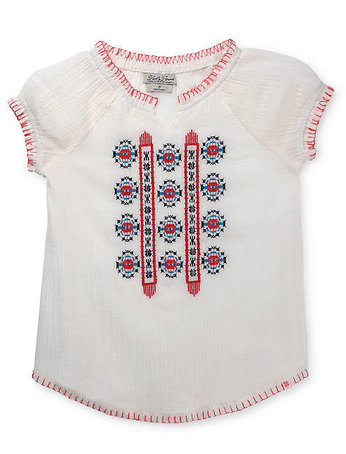 MAELYNN PEASANT TOP, OPEN WHITE/NATURAL