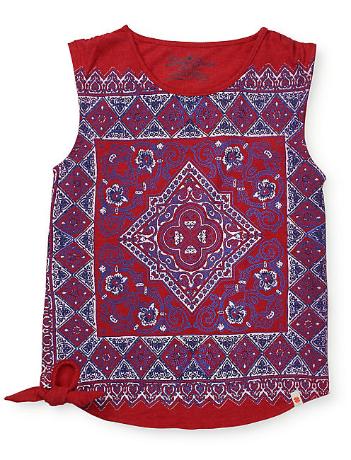 SCARF PRINTED SIDE TIE T, BRIGHT RED