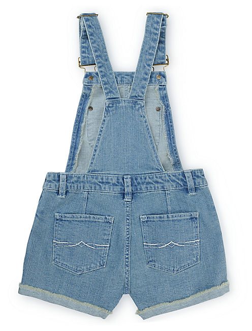 EMBROIDERED SHORTALL, OPEN BLUE/TURQUOISE