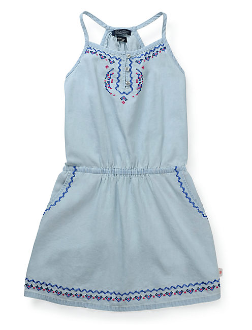 CHAMBRAY DRESS, OPEN BLUE/TURQUOISE
