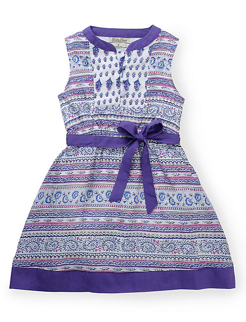 MIXED PRINT DRESS, MEDIUM PURPLE