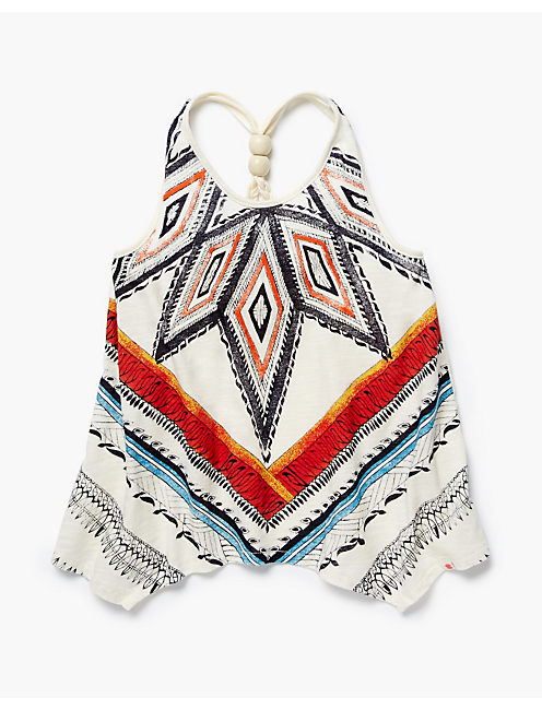TRIBAL HANKY HEM TANK, WHITE