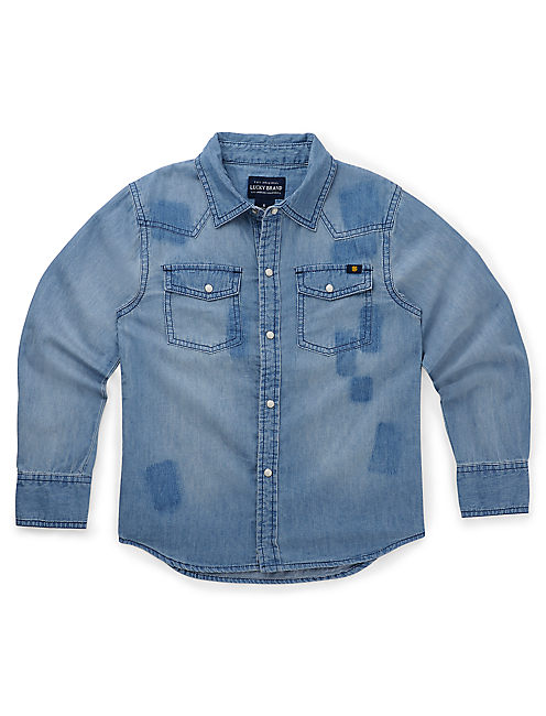 CHAMBRAY PATCHWORK SHIRT, OPEN OVERFLOW