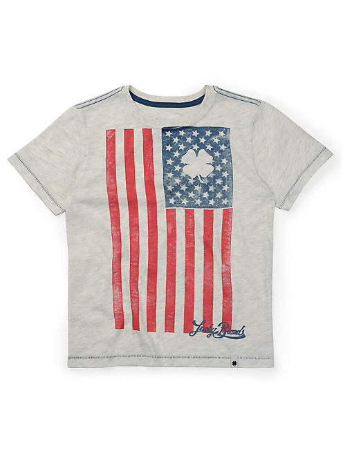 LUCKY FLAG TEE, LIGHT BEIGE