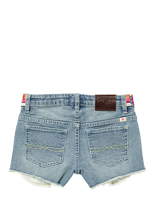 EMB TRIM DENIM SHORT, BLEACH WASH