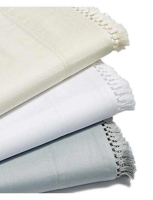 FRINGE WHITE QUEEN SHEET SET, NATURAL
