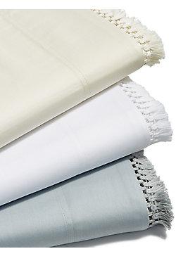 FRINGE WHITE QUEEN SHEET SET