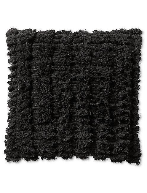 18X18 SHAGGY DECORATIVE BLACK PILLOW,