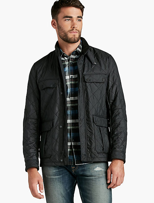 BLACK QUILTED NYLON JACKET,