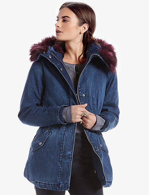DENIM FUR JACKET, #458 BLUE