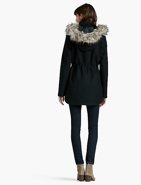 NAVY FUR HOOD COAT,