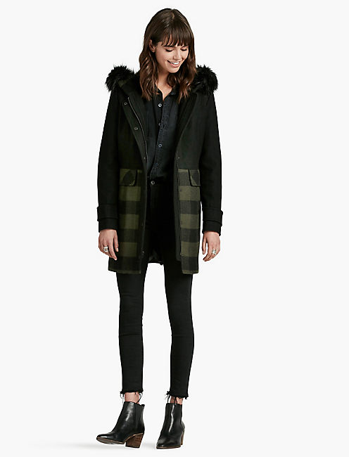 STRIPED FUR HOOD COAT,