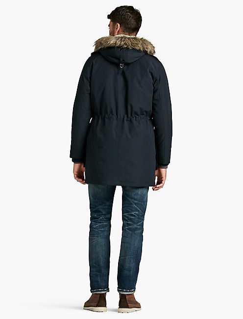 NAVY FUR LINED PARKA,